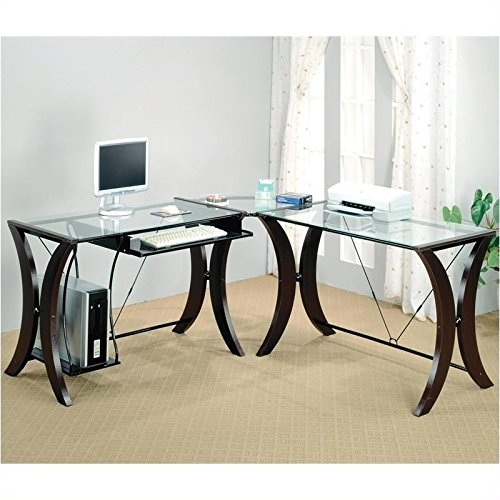 this is a versatile and decorative gaming desk for those who wish to add touch of elegance their room the coaster l shape home office computer t